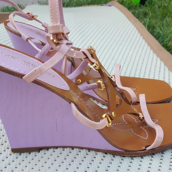 """3d1bb138ef88 Louis Vuitton Shoes - Louis Vuitton Patent """"Capricieuse"""" Wedge Sandals"""